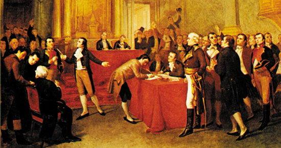 Grabado que reprtesenta la firma del acta de Independencia de Venezuela, en el Palacio de Justicia de Caracas (5 de julio de 1811), por G. Profit