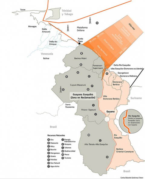 Mapa de Guyana Esequiba.