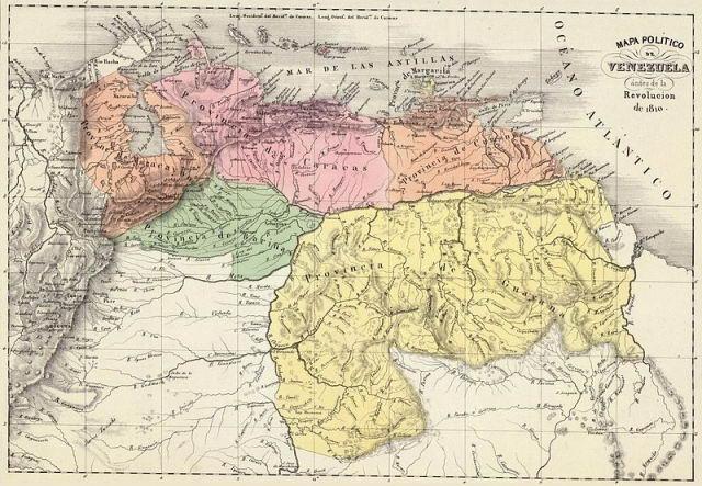 Mapa político de Venezuela ántes de la Revolución de 1810.