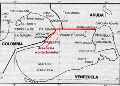 Zona del incidente de la corbeta Caldas.