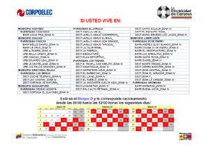 Cronograma de racionamiento ahorro el ctrico en caracas for Cronograma de racionamiento de luz en aragua